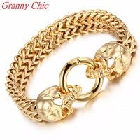 Granny Chic High quality men 12mm bangles link chains Fashion 316L stainless steel Figaro Box Chain Skull Heads bracelet for man