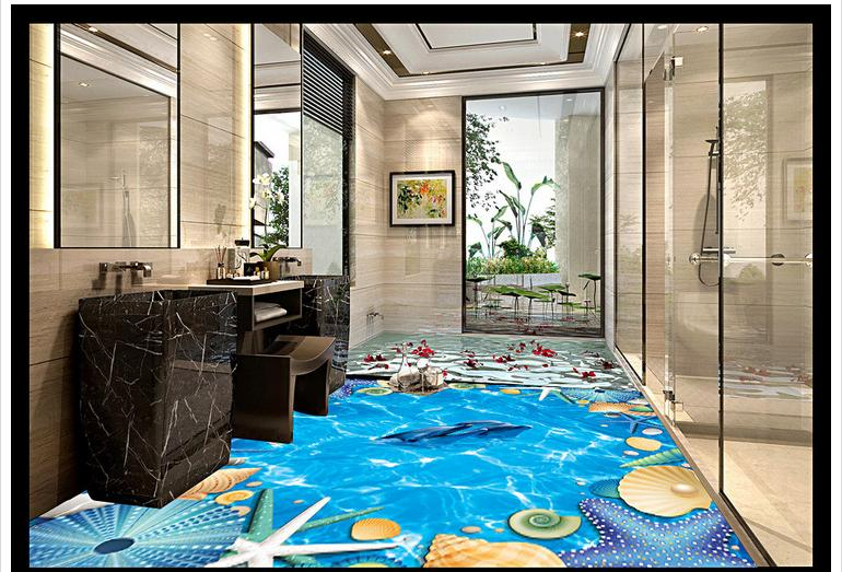 ФОТО Custom photo floor wallpaper Blue ocean shell 3 d floor 3d mural PVC wallpaper self-adhesion floor wallpaer
