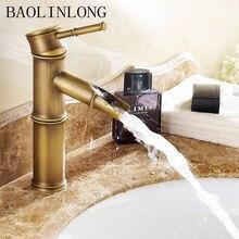 Antique Brass Waterfall Bathroom Faucet Vessel Tall Bath Sink Water Crane Tap Mixer