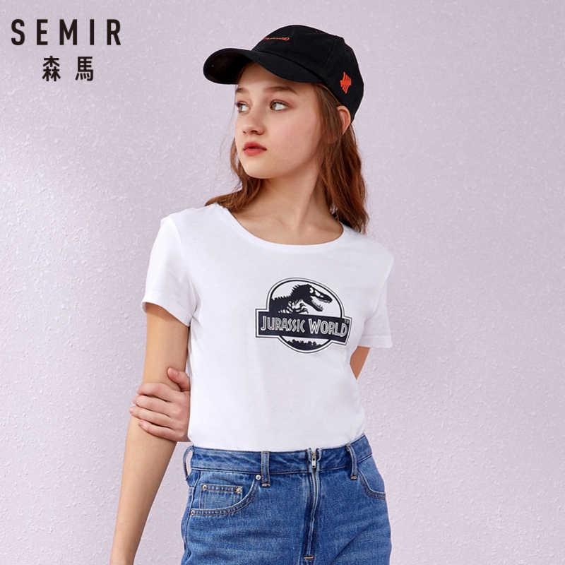 SEMIR футболка с коротким рукавом женская 2019 летняя новая печать ветер Студенческая Корейская версия tide круглый вырез женский пуловер