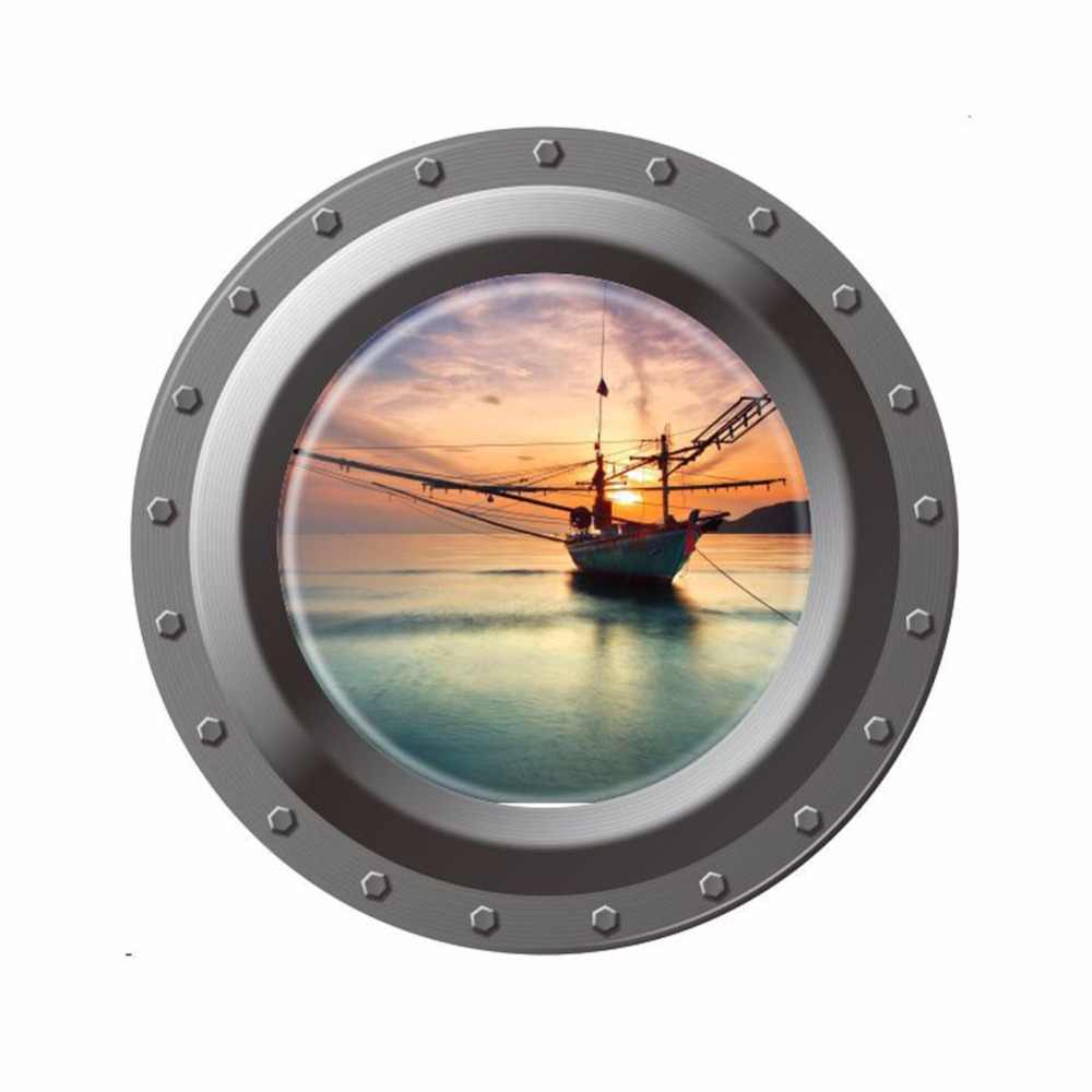 Creative Home Decor 3d Submarine Window Wall Stickers Sunset Pirate Ship Pattern For Refrigerator Door Wall Tile Decor 43x43cm Tile Decoration Decoration 3dhome Decor Aliexpress