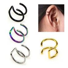 16G Stainless Steel Cuff Fake Ear Clip Women Men Dilatations False Ear No Piercing Ear Studs Earrings Body Jewelry Free Shipping