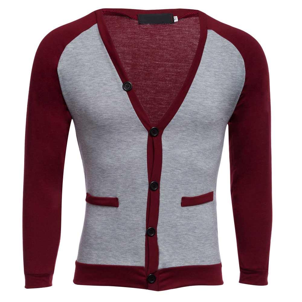 2018 Herbst Winter Strickjacke Casual Pullover Patchwork V-ausschnitt Pullover Langarm Männer Oberbekleidung Neue Produkte Hohe Qualität