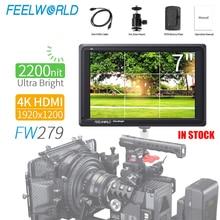 FEELWORLD FW279 7 אינץ Ultra בהיר 2200nit על מצלמה שדה מלא HD 1920x1200 4K HDMI קלט פלט בהירות גבוהה