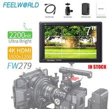Feelworld FW279 7 インチ超高輝度 2200nit カメラフィールドデジタル一眼レフモニターフル hd 1920 × 1200 4 hdmi 入力出力高輝度