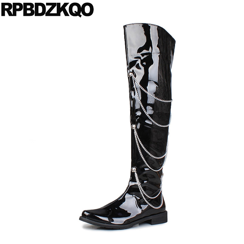 Black Metalic Shoes Pointed Toe Stud Flat Knee High Zipper Patent Leather Tall Waterproof Top Rock Mens Boots Comfortable 2017 image