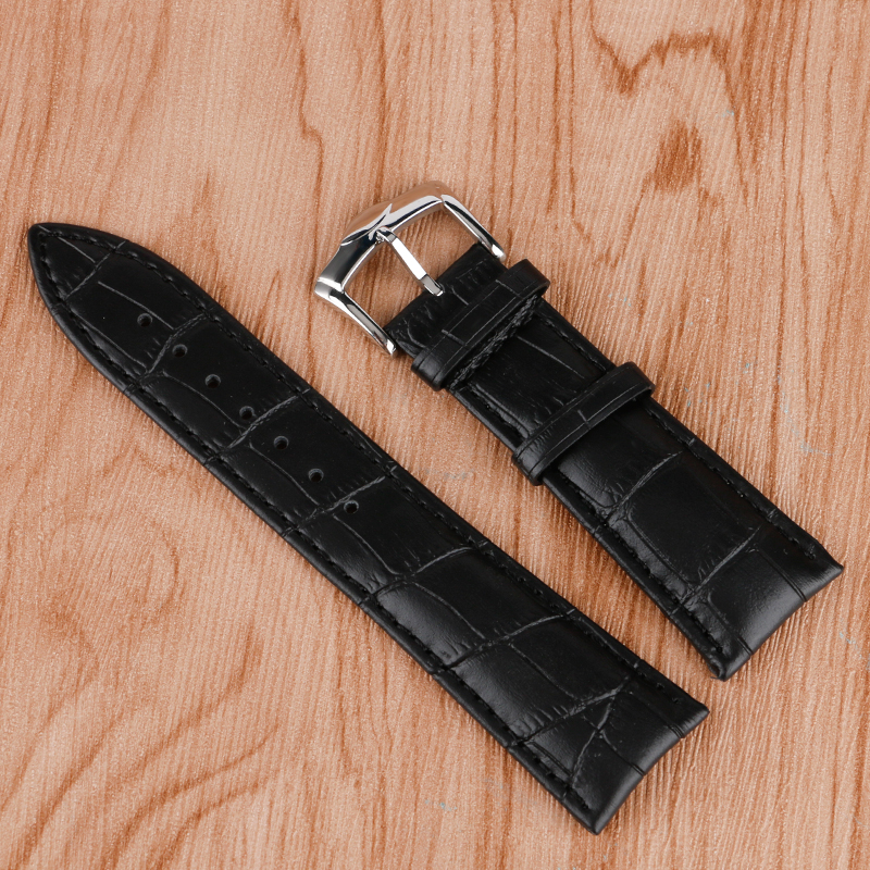 24mm Sport Watch Strap Wrist Band Soft Watchband Black Genuine Leather Men Outdoor Stainless Steel Pin Buckle + 2 Spring Bars 13mm 18mm 20mm genuine leather watchband universal men women watch band wrist strap stainless steel buckle bracelet black brown