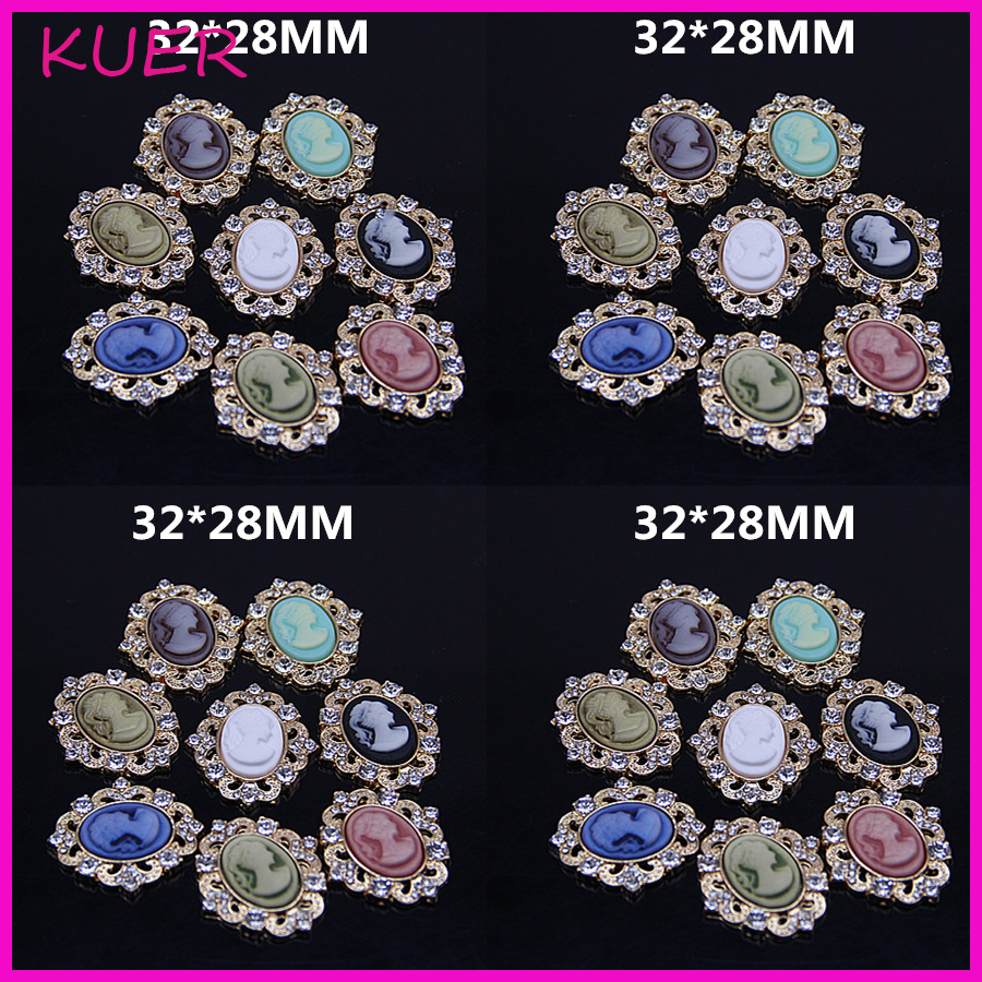 Hair bow button accessories - 8colors Metal Rhinestone Button Oval Shape With Beauty Resin Head Wedding Hair Bow Garment Center Diy Accessories Handcraft