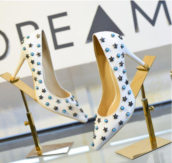Nude women sexy high heel slip-on 9.5 cm high thin heels starts decoration pointed toe women party sweet rivet shoes white shoes apoepo women high heel pointed toe slip on sexy pumps 10 cm and 12 cm nude high heel wedding bride shoes concise style stilettos