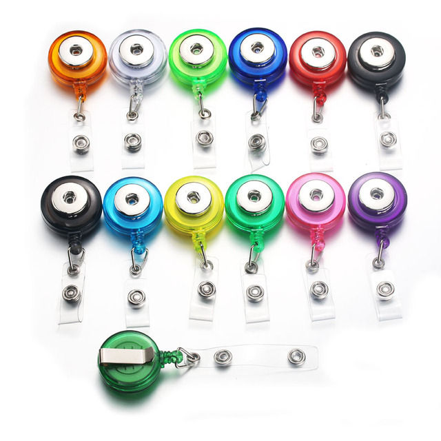 US $1 02 15% OFF|Snap Button Badge Reel ID Holder Retractable Badge Holder  Interchangeable Snap Jewelry ( fit 18mm snaps ) Boom Life 7639-in Pendant