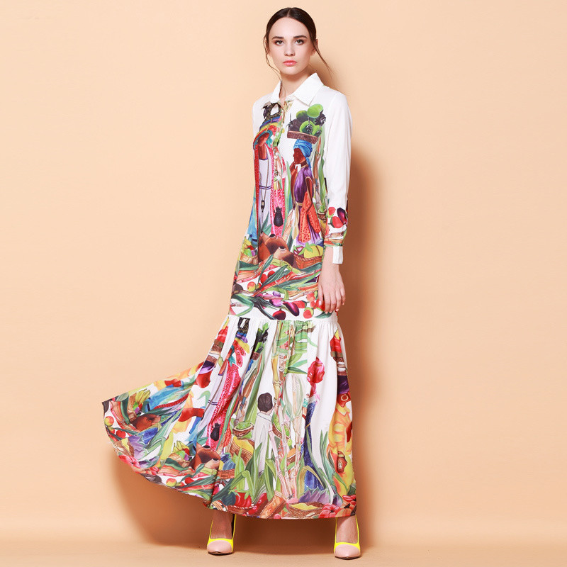 High Quality Newest Fashion Runway Turn Down Collar Maxi Dress Women S Long Sleeve Retro Art