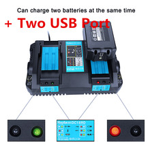 High quality Double Charging charger  For Makita Battery 14.4V 18V Li-ion Electric Power Tool Battery with USB Port стоимость