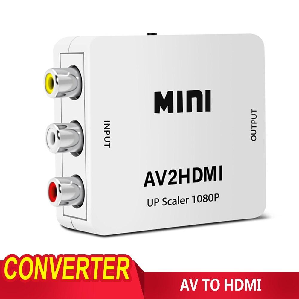Composite White RCA AV HDMI CVBS to HDMI Adapter HD 720P 1080P AV to HDMI Mini AV2 hdmi Video Converter