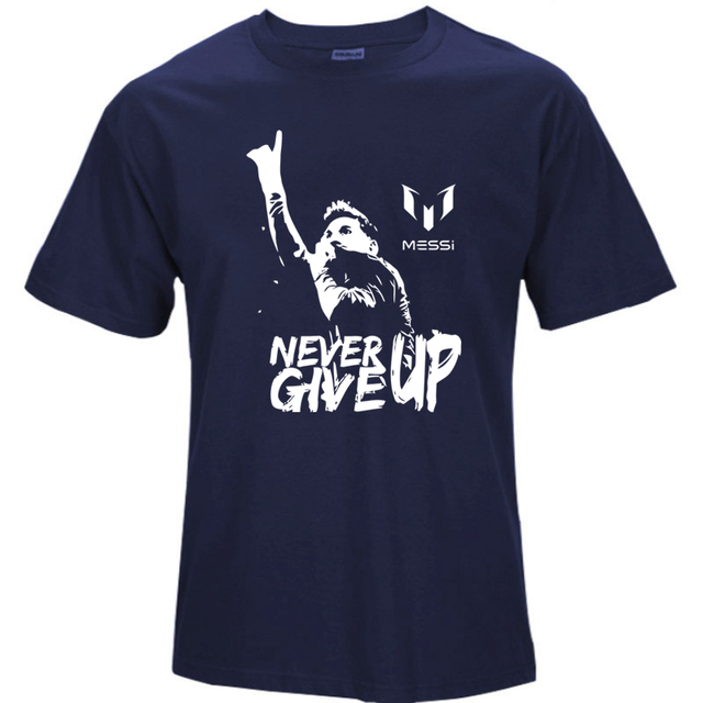 Leo Messi NEVER GIVE UP Tshirt FC BARCELONA T-shirt MESSI 10 100% Cotton t-shirt jersey fans for shirt S64