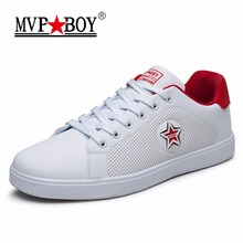 MVP BOY Brand Leather Casual Shoes Men 2017 Summer Breathable White Shoes Men Flats Style Fashion Classic Casual Shoes Men