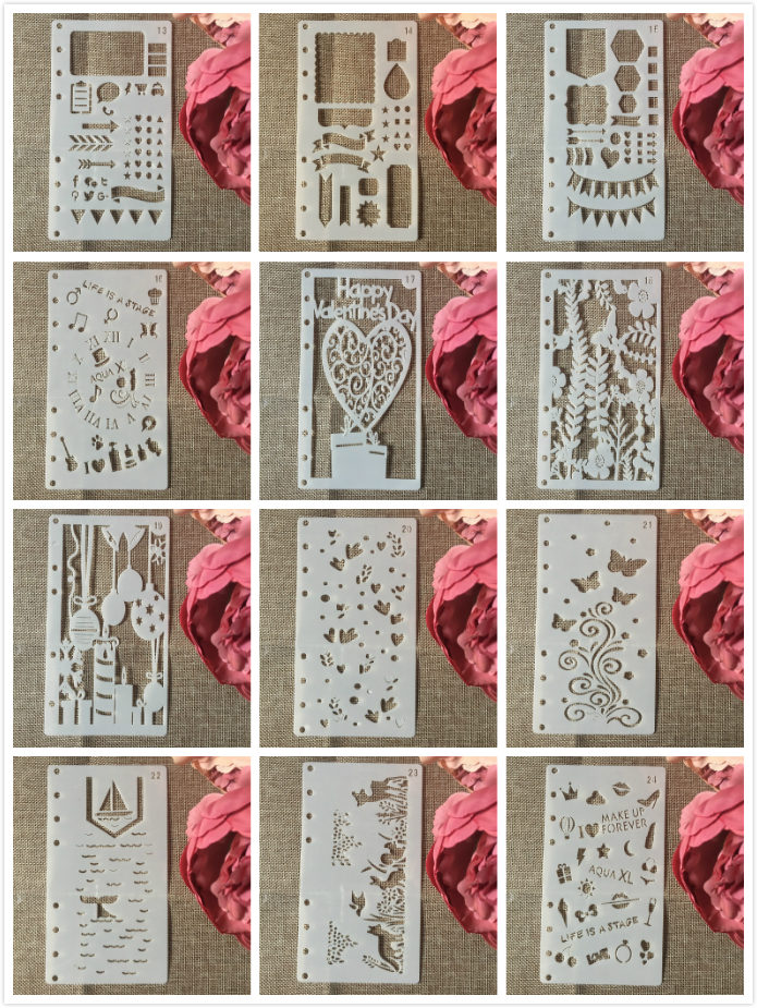 12Pcs/Set A6 Heart Animals DIY Craft Layering Stencils Wall Painting Scrapbooking Stamping Embossing Album Paper Card Template