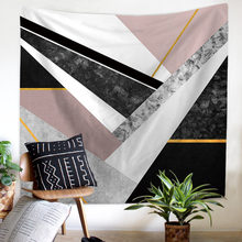 JaneYU New Nordic Geometric Abstract Velvet Polyester Tapestry Wall Hanging Beach Towel Blanket Home Decoration