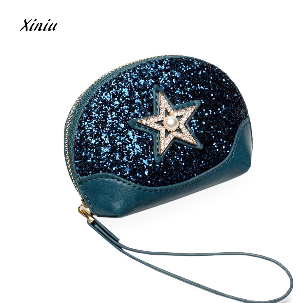 Women Fashion Star Pearl Sequins Small Coin Purse Wallet Leather Zipper Ladies Money Change Bag Portable Ladies Coin Purses