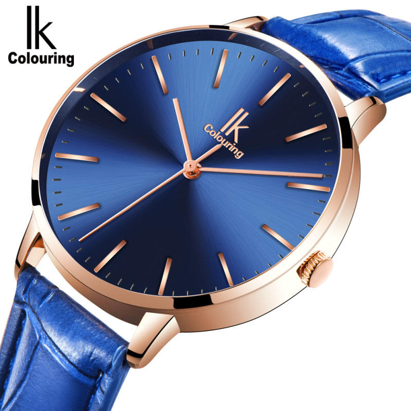 2017 IK Women Watches Top Luxury Brand Rose Gold Silver Leather Steel Quartz Wrist Watch relogio feminino Clock montre femme classic simple star women watch men top famous luxury brand quartz watch leather student watches for loves relogio feminino
