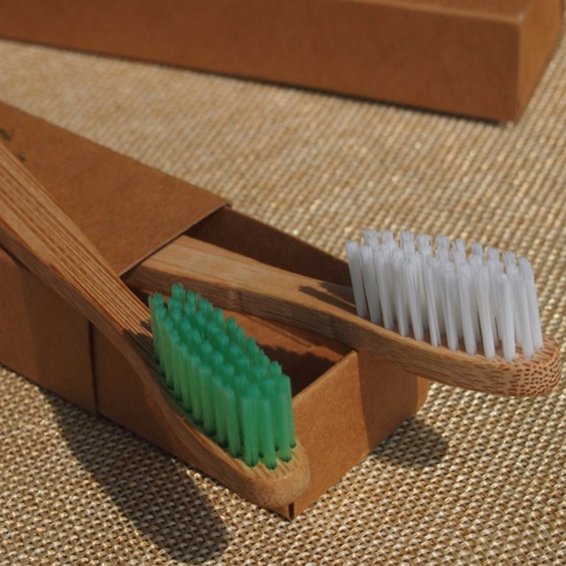 Free Shipping 2PCS/lot Eco Environment Bamboo Toothbrush Without Chemical Composition BPA Free Nylon Bristle Toothbrush
