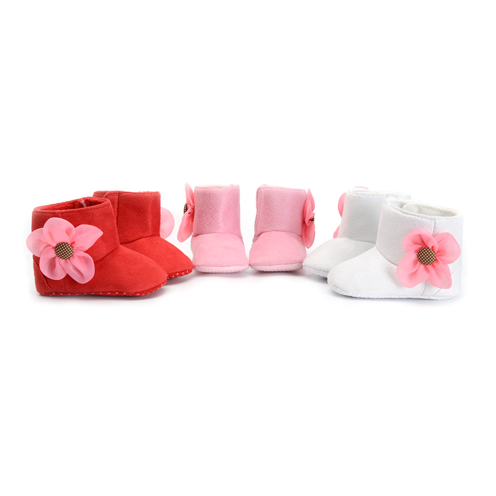 New Born Baby Girl Winter Warm Booties Crib Shoes Sole Comfortable Cotton Snowshoes Anti-slip 0-18 Months Footwear