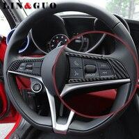 2pcs Auto Refitted Special Carbon Fiber Steering Wheel Sticker Fit For Alfa Romeo Giulia Stelvio Car