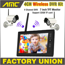 NEW 7 Inch Monitor Wi-fi CCTV Equipment 2.4GHz 4CH Channel CCTV DVR 2PCS Wi-fi Cameras Audio Night time Imaginative and prescient Residence Safety System