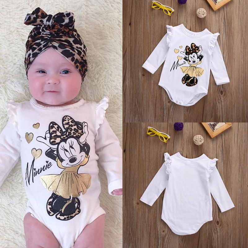 New Fashion Newborn Baby Girl Bodysuit Long Sleeve Cartoon Jumpsuit Bodysuit Outfit Set Clothes 0-18M