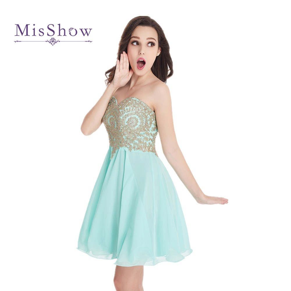 Different Colors 2019 Real Photos Lovely Sweetheart Gold Lace Mint Green Chiffon   Bridesmaid     Dresses   Short Party   Dress   CPS406