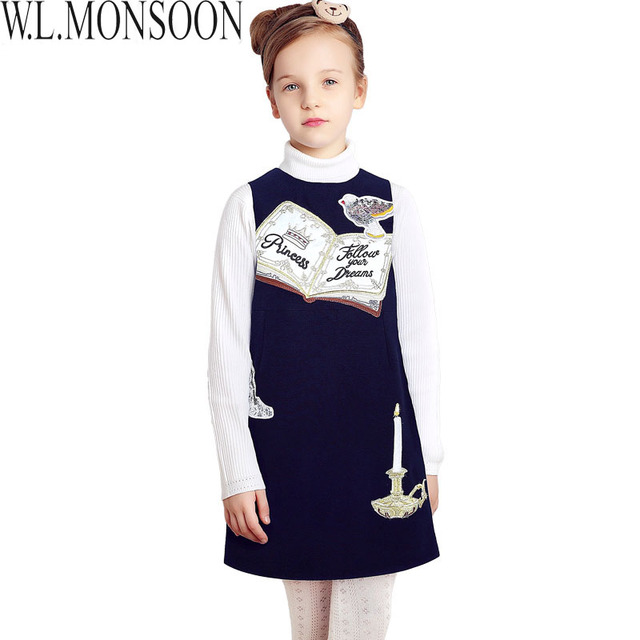 W.L.MONSOON Girls Party Dress 2017 Brand Princess Costume for Girls Dresses Book Pattern Robe Princesse Fille Kids Dress Clothes