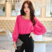 Original 2018 Brand Spring New Fashion Solid Batwing Lantern Sleeve Round Neck Long Sleeve Chiffon Blouse