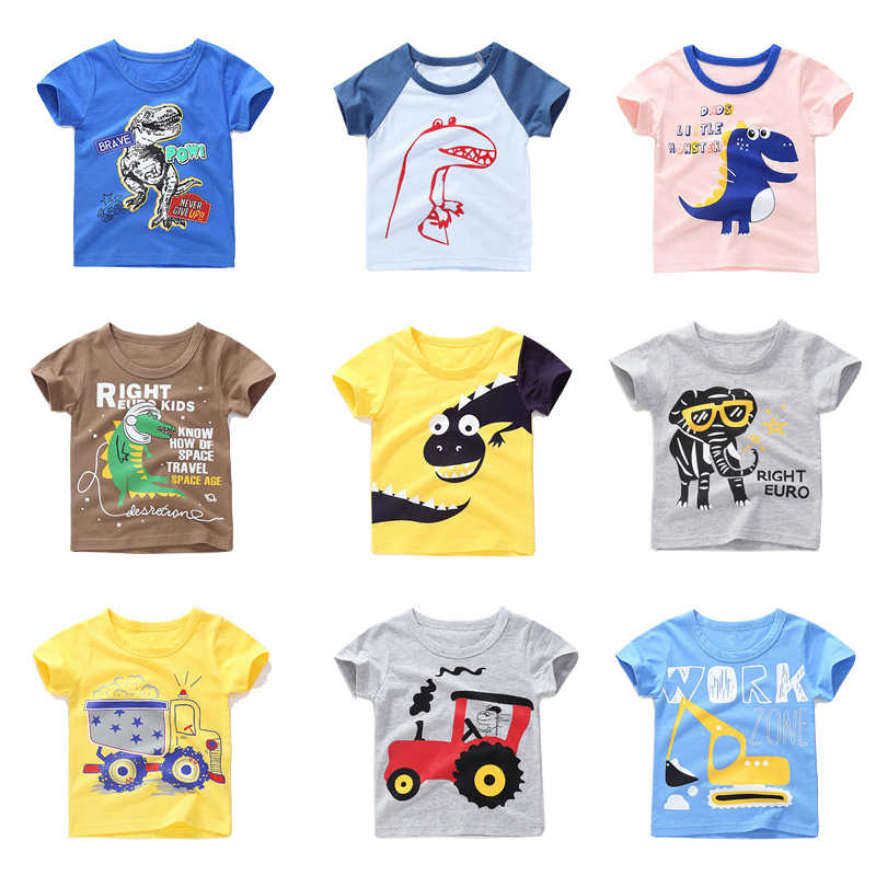 Kids T Shirt For Summer Children Cartoon Baby Dinosaur Car Infant Boys Girls T-Shirts Clothes Cotton Toddler Tops 18M-8Y