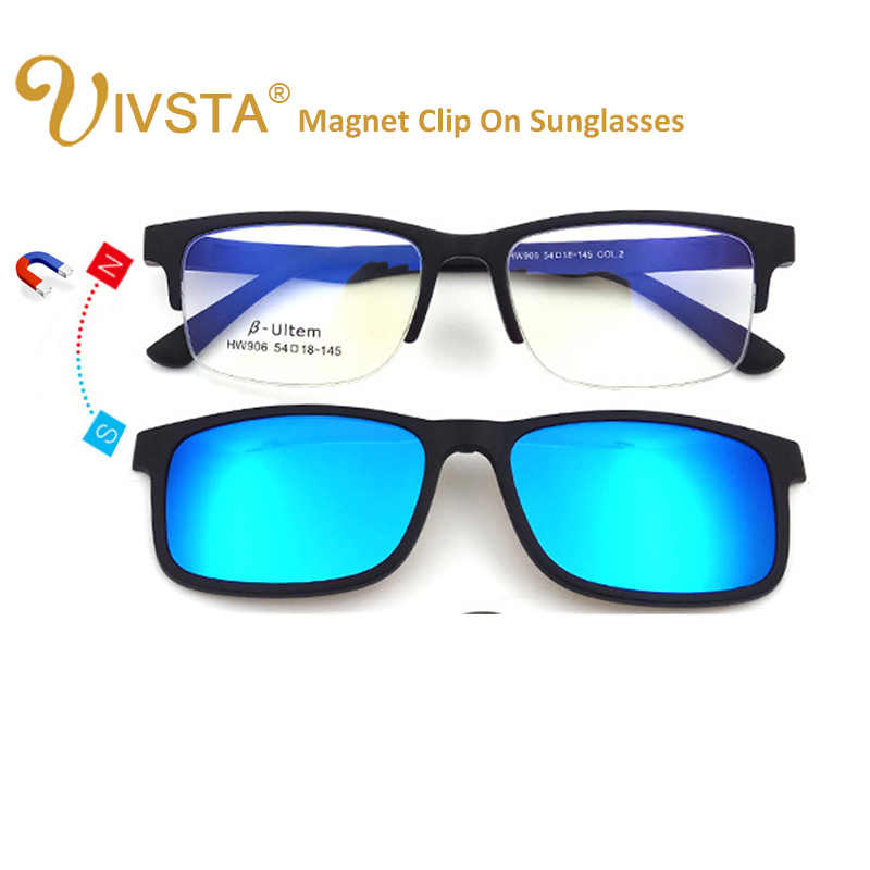 fd0b51f622 ... IVSTA High Quality ULTEM Clip On Sunglasses Men Polarized Lenses  Magnetic Clips Magnet Eyewear Myopia Spectacle
