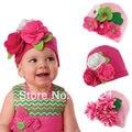 Милые Дети Малышей Младенческой Девушка Детские Hat Cap Шапочка Головные Уборы хлопок Цветок