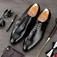 Summer British Style Pointed Toe Carved Man Formal Dress Shoes Genuine Leather Oxfords Men's Breathable Brogue Footwear NE42