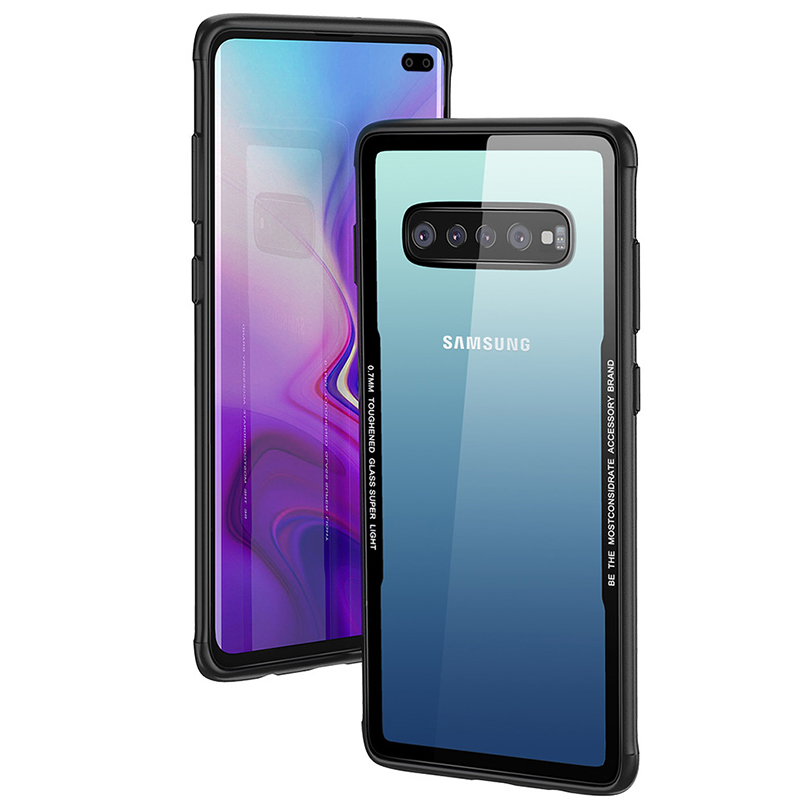 los angeles e001c 892ea Luxury Clear Tempered Glass Case For Samsung Galaxy S10 Plus S10 Lite  Silicone Frame Light Phone Case For Samsung Galaxy S9 Plus