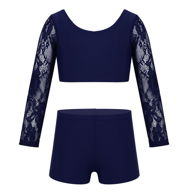 JEATHA Kids Girls Basic 2 Piece Active Dancewear Outfit Floral Lace Crop Top and Shorts Set for Gymnastics Dancing Workout