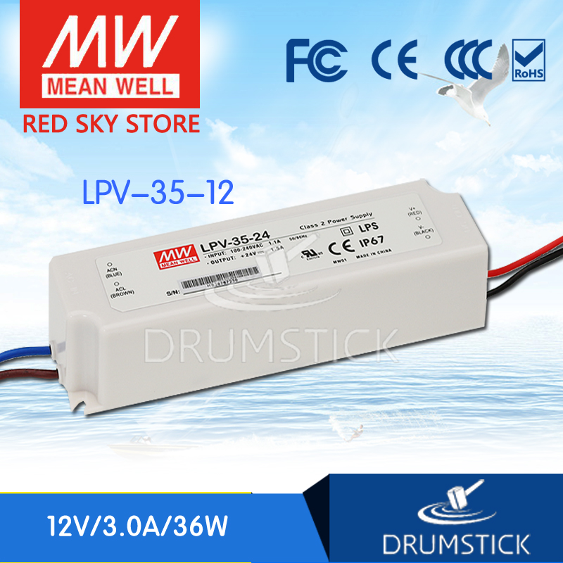 (12.12)MEAN WELL LPV-35-12 12V 3A meanwell LPV-35 36W Single Output LED Switching Power Supply 35 35 3