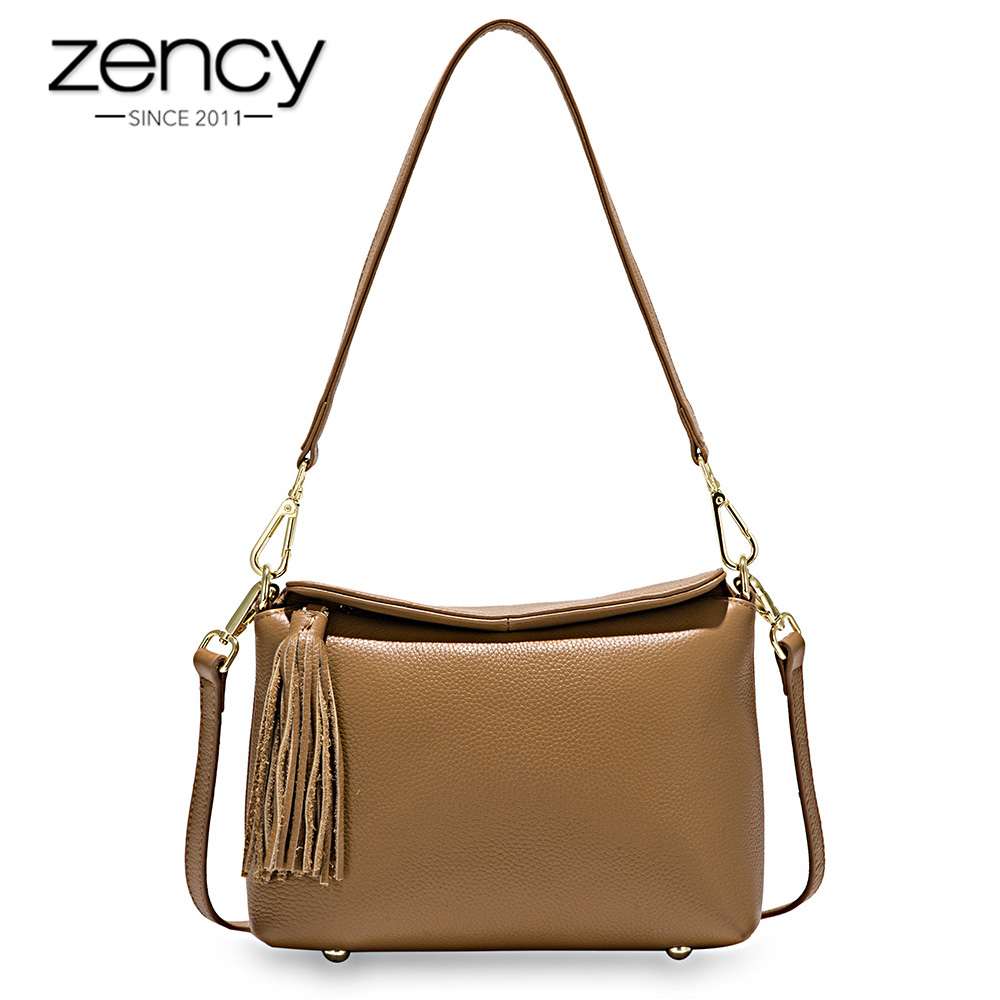 Zency New Arrivals White Women Shoulder Bag 100% Genuine Leather Handbag Black Fashion Lady Crossbody Purse Tote Apricot-in Shoulder Bags from Luggage & Bags    3
