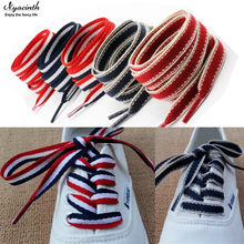 High Quality Polyester Red White Blue Mixed Color Shoelaces 1 cm Width Women Men Colorful Leather Sports Casual Shoes Laces(China)