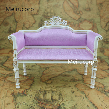Doll Furniture 1:6 scale Handmade gilt Fabric sofa Retro