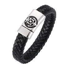 New Fashion Braided Men Leather Bracelet&Bangles Male Pirate Magnet Buckle Genuine Leather Anchor Bracelets Wristband BB0265 недорого