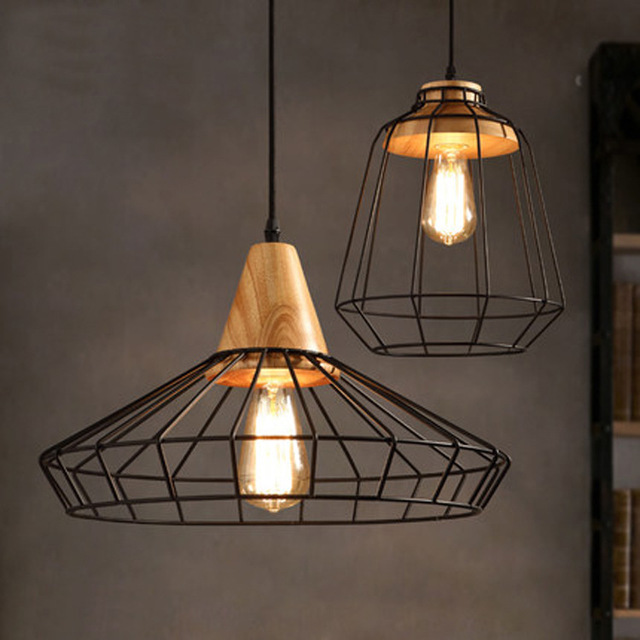 Nordic retro wire mesh cage pendant light restaurant coffee shop solid wood iron mesh hanging lamp-in Pendant Lights from Lights & Lighting on ...