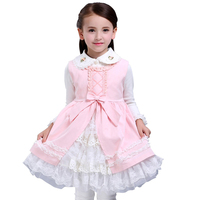 Autumn Girls Lace Princess Dress Baby Layered Dress Children Vest Royal Style Fairy Tale Vestido For
