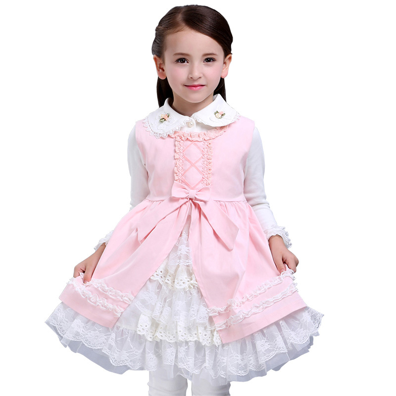 Autumn Girls Lace Princess Dress Baby Layered Dress Children Vest Royal Style Fairy Tale Vestido for Party High Quality 3-10Y lonpoo bookshelf speaker pair 4 inch carbon fiber woofer and silk dome tweeter passive 2 way 75w 2 classic wooden loudspeaker