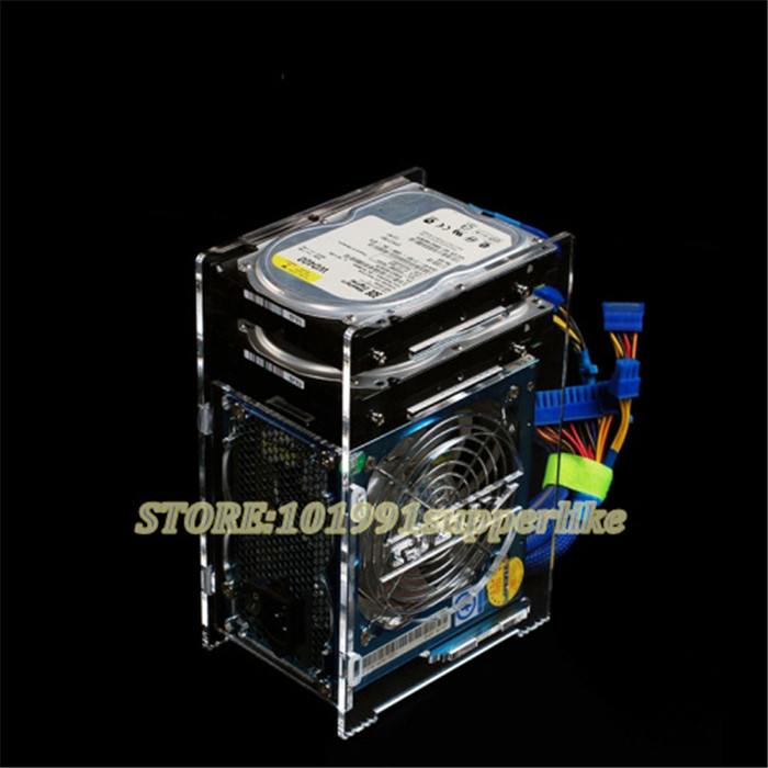 DEBROGLIE  1PCS   Transparent Computer Case Tray For 1pcs External Mainboard Power Supply+2pcs 3.5 Inch Hard Disk   Hdd Cage