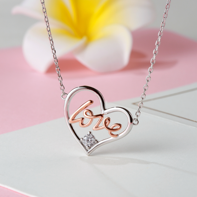 Authentic 925 Sterling Silver Elegant Rose Gold Clear CZ Heart Pendant Necklaces for Women Fine Jewelry Gift free shipping in Pendant Necklaces from Jewelry Accessories