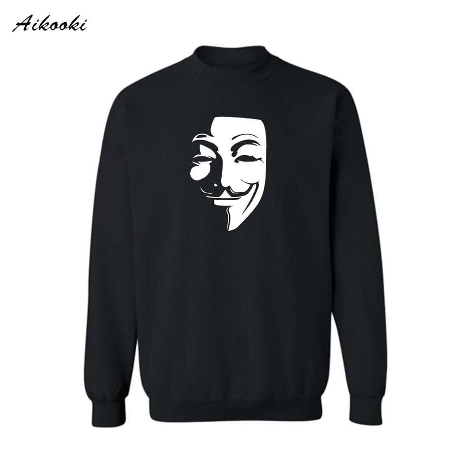 2018 Classic Mask V for Vendetta White  Sweatshirt Women Loose in V Hoodies Woman Sweatshirts Spring Autumn Hoody 4XL