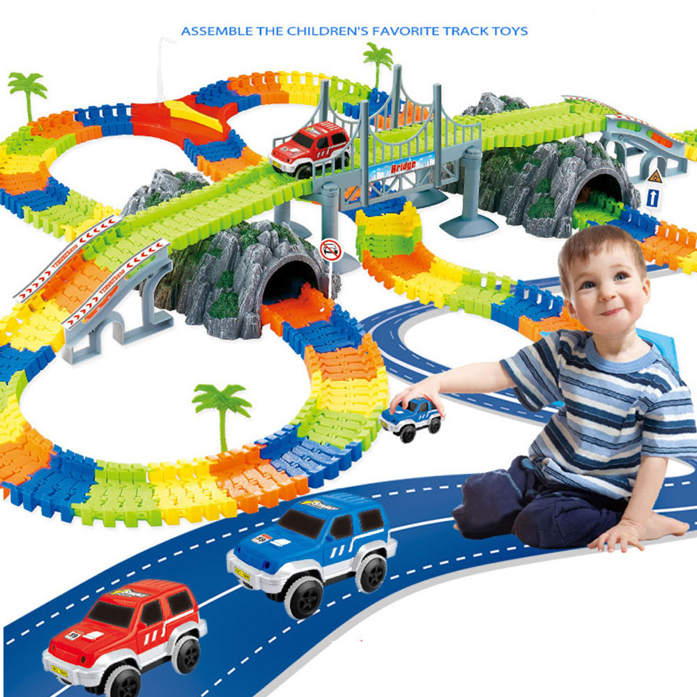 New Racing Track With Car Race Track Bend Flex Electronic Rail Race Car Vehicle Toy Roller Coaster Toys For Children Xmas Gifts