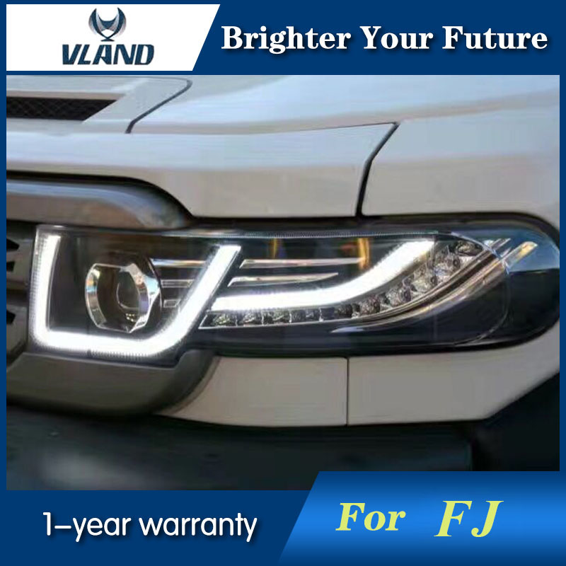 Vland Car styling For Toyota FJ Cruiser 2007-2014 LED Headlight Halo HID Lamp + Tail Lights + Grille free shipping vland car lamp for toyota fj cruiser led headlight taillight front grill plug and play design fit model 2007 2015